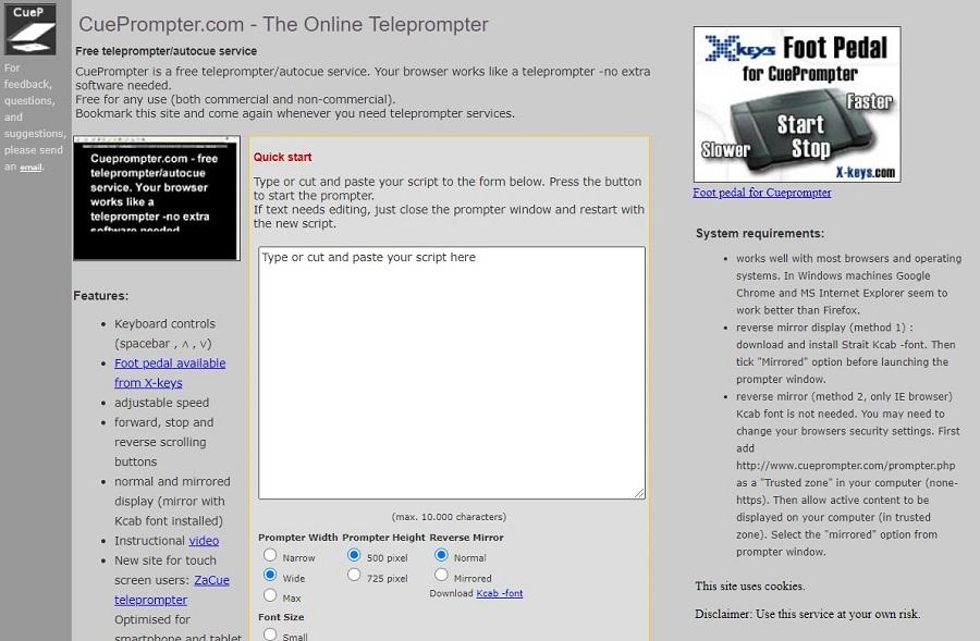 cuepromter app de telepronter