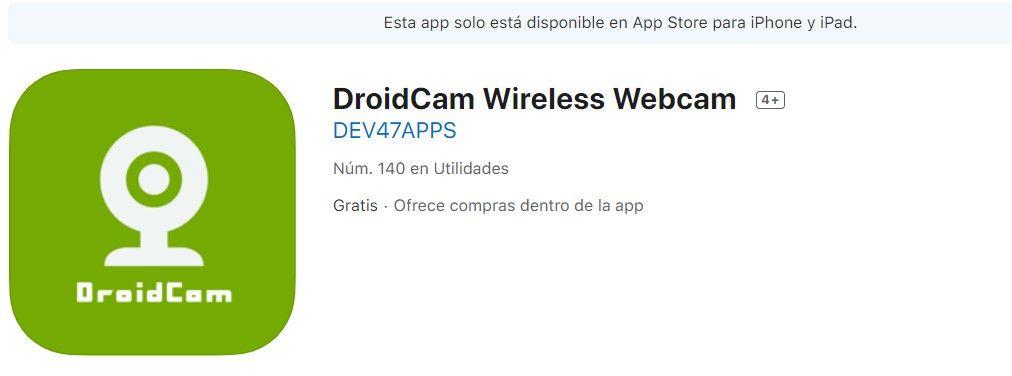 smartphone como webcam IOS