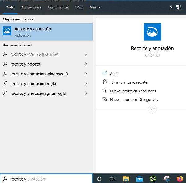 capturas de pantalla windows 10 recorte y anotación