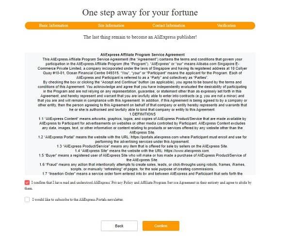 condiciones programa de afiliados de aliexpress