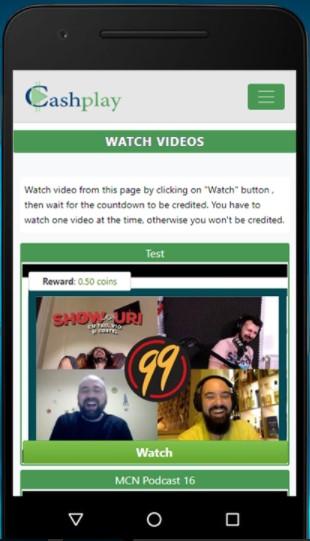 Cash ply aplicación dinero viendo vídeos